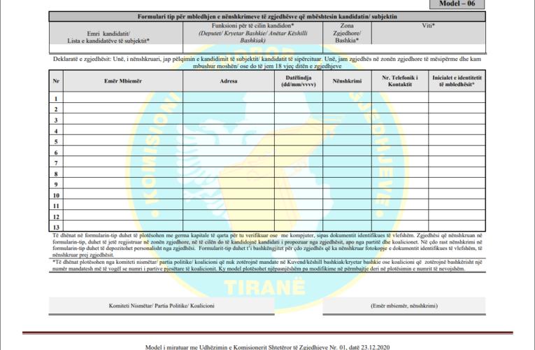 Udhëzime për grumbullimin e nënshkrimeve (firmave) në mbështetje të kandidatit nga zgjedhësit në Qarkun e Tiranës për zgjedhjet parlametare të 25 prillit: Boiken Abazi